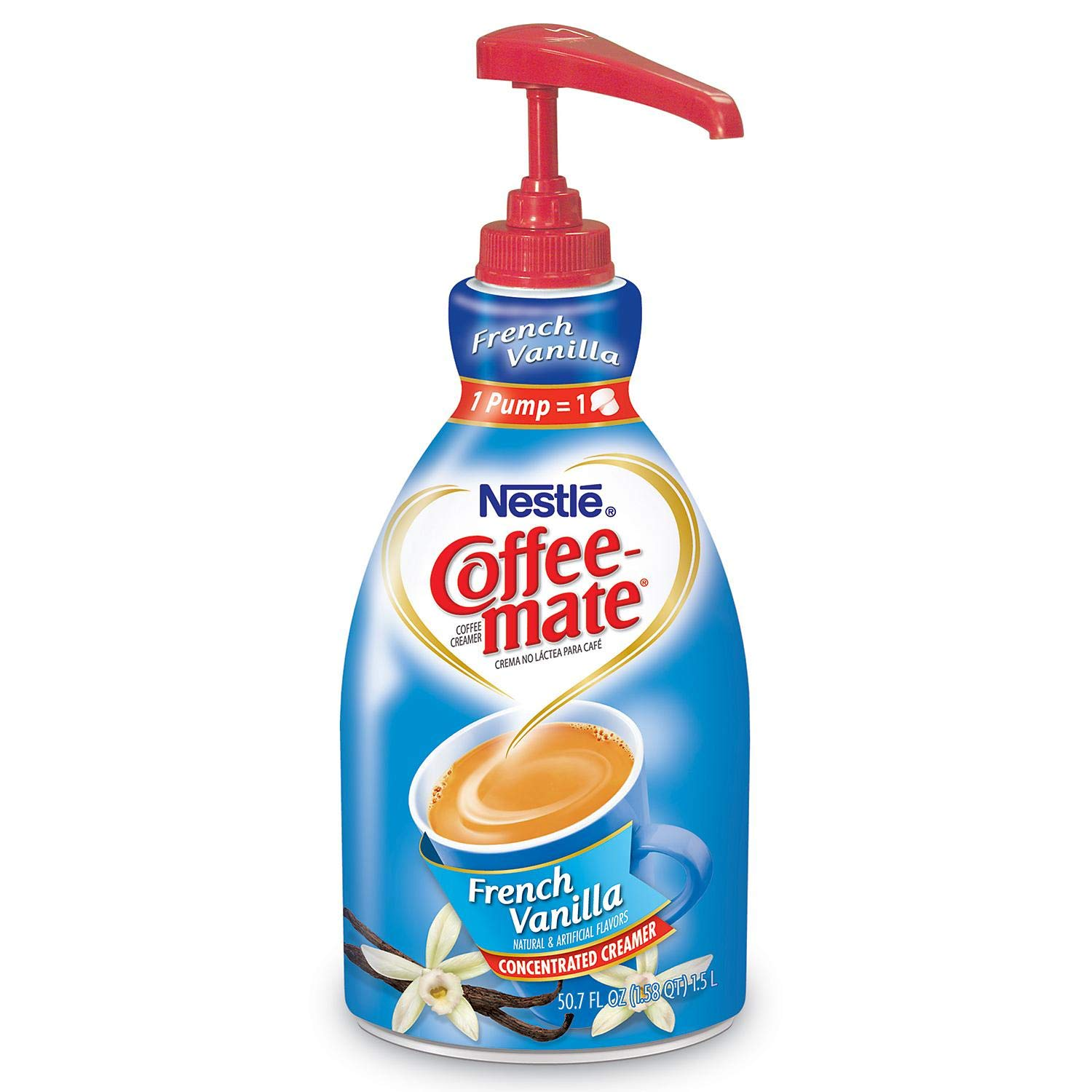 NESTLE COFFEE-MATE Coffee Creamer, French Vanilla, 1.5L liquid pump bottle, Special Size 2Pack by Nestle Coffee Mate