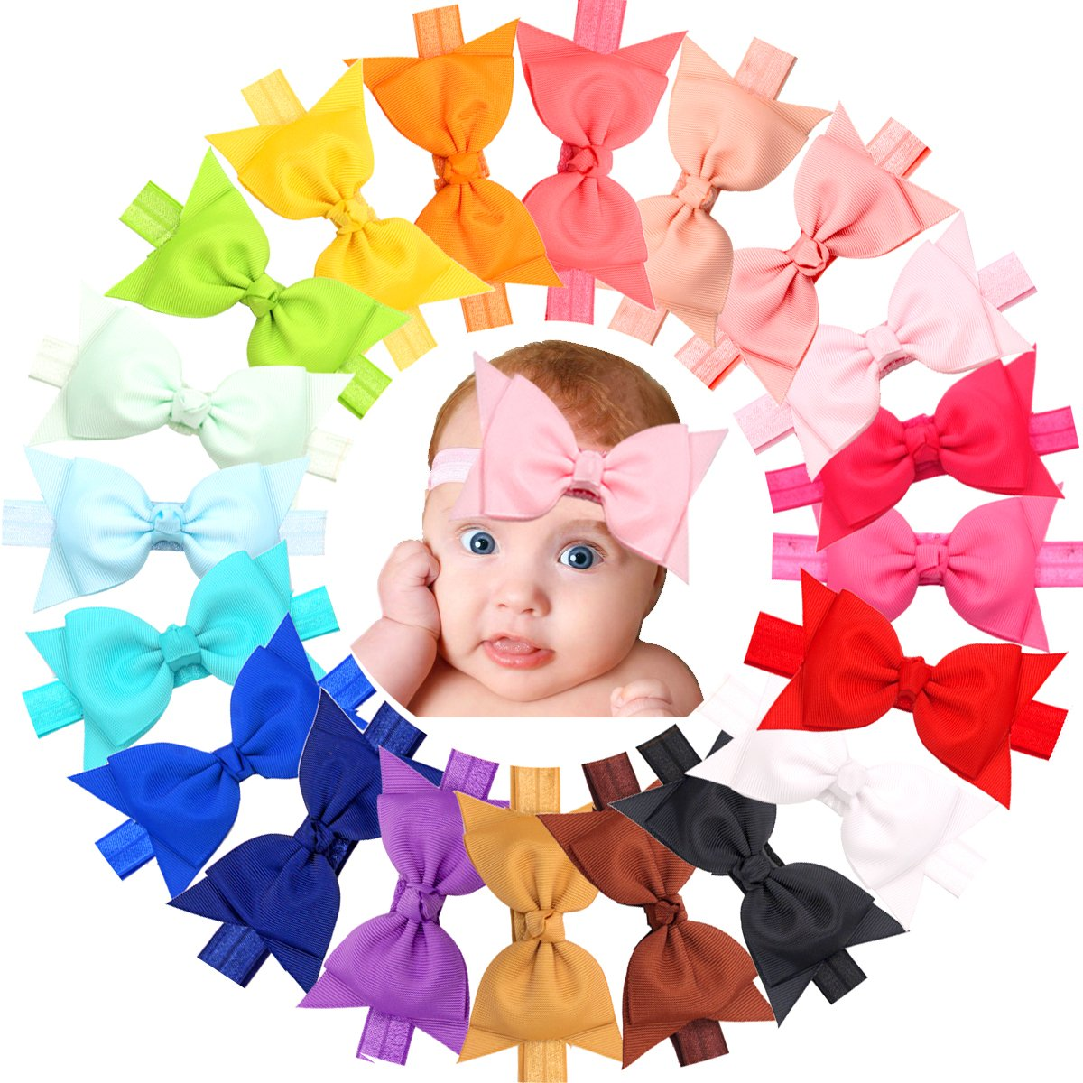 20pcs Baby Girls headbands With 4 Hair Bows Soft Band for Infant Newborn Toddlers JoYoYo