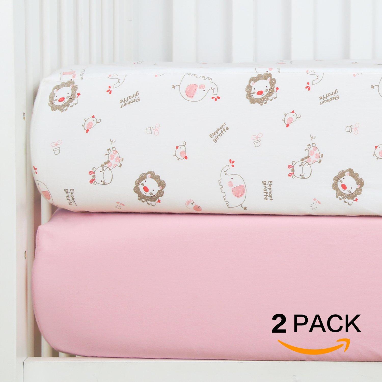 TILLYOU Crib Sheet Elephant Giraffe Element, 100% Cotton Toddler Sheet Set for Baby Girls and Boys, Soft & Breathable, 28''x52'' - Lt Pink & Jungle Buddies