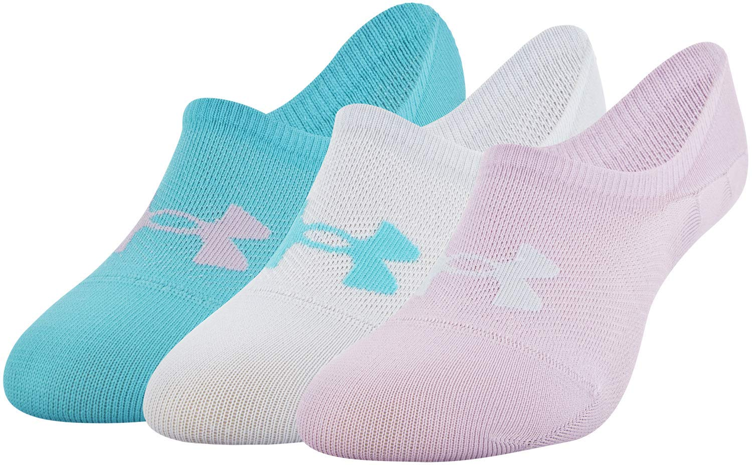 Under Armour Essential Ultra Lo Socks, 3-Pair, Pink Fog Assorted, Shoe Size: Womens 6-9 by Under Armour