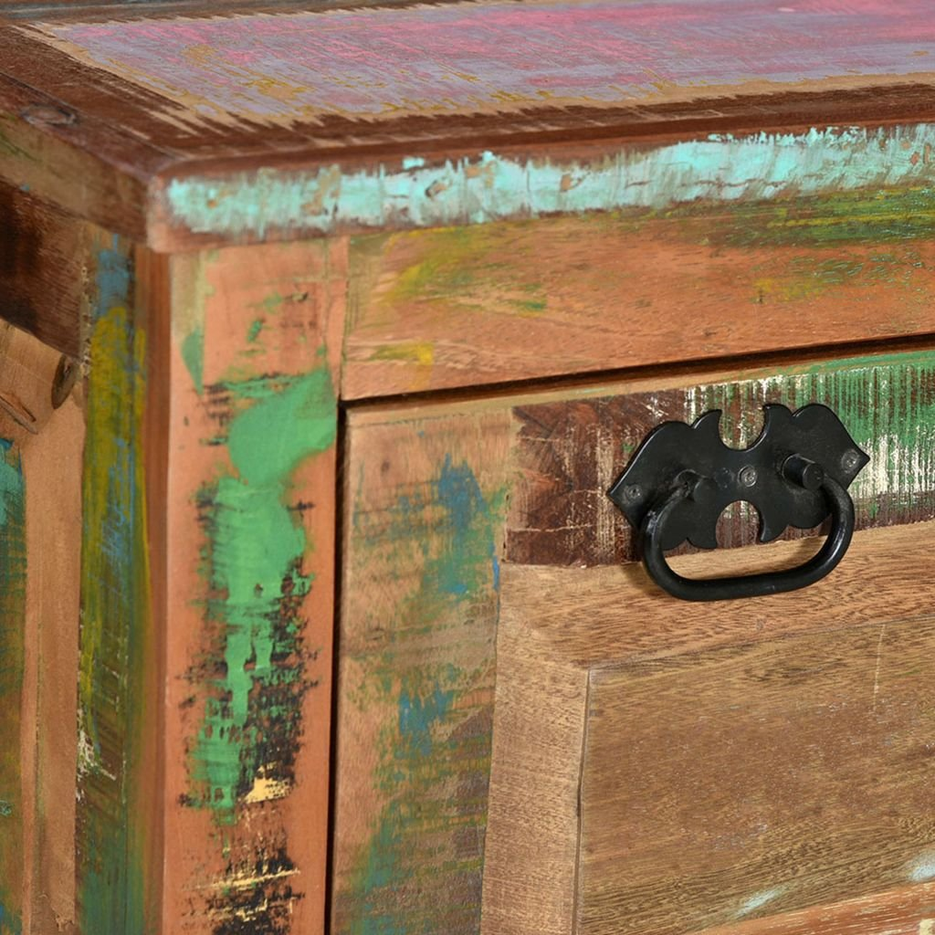 Tidyard Panca Scarpiera in Legno Massello di Recupero 85 x 40 x 45 cm