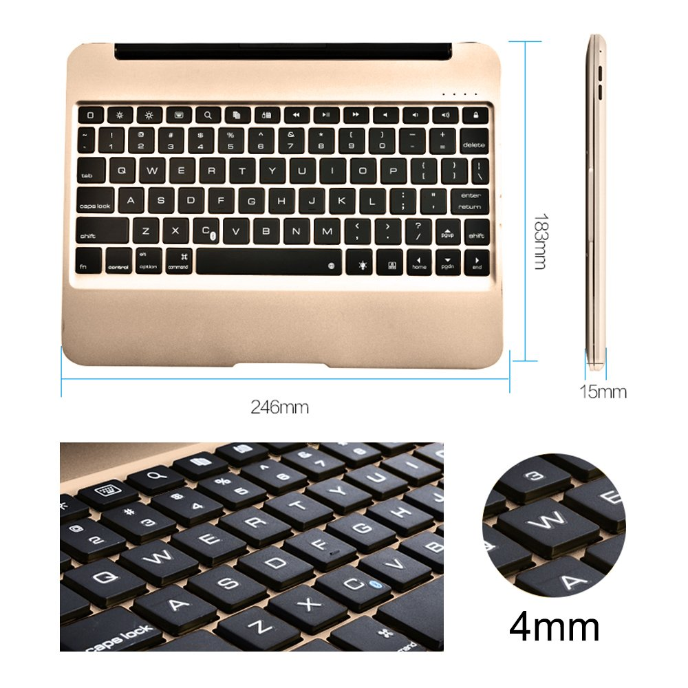 YOUCable iPad Pro 9.7 iPad Air 2 Keyboard Bluetooth 7-color LED Backlit Aluminum Slim Wireless Keypad with Built-in 2800mAh Power Bank for iPad Pro 9.7 / iPad Air 2 (gold) by YOUCable (Image #7)