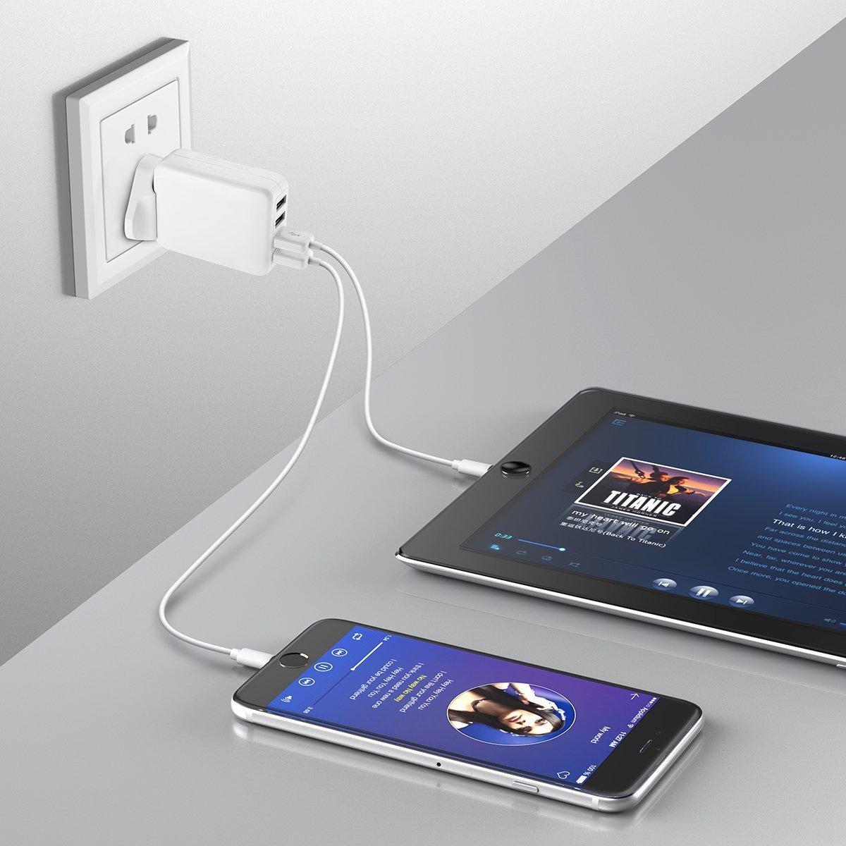 POWERADD Reiseadapter 4 Port USB Ladegerät mit UK EU US AU Internationaler Austauschbarer Reisestecker für iPhone, Tablet, Externer Akku