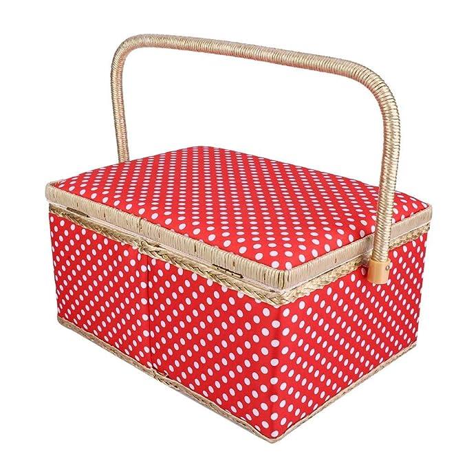 rosa Cesta de costura para kit de costura caja de almacenamiento de agujas cesta de almacenamiento para el hogar organizador de suministros de costura para accesorios de costura naranja