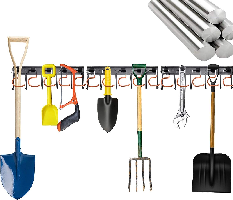 "SETROVIC Garage Organization Heavy Duty 51 Inch Garage Organization Wall Holders for Garden Tools for Garden, Garage, Laundry Room, Basement, Workshop (17"" x3 Pack, All Metal )"