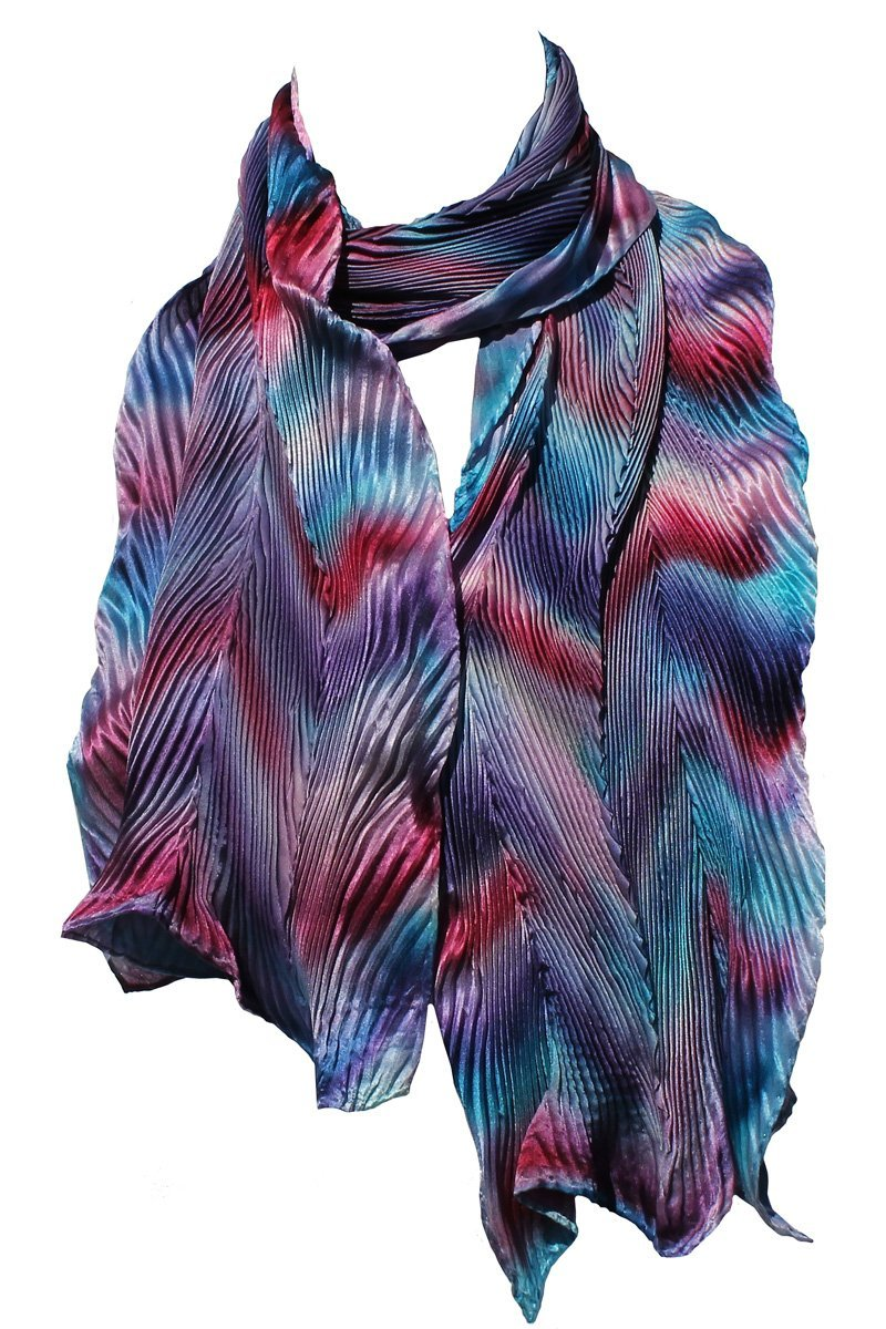 Pink, Blue and Purple Hand Painted Arashi Shibori Silk Scarf