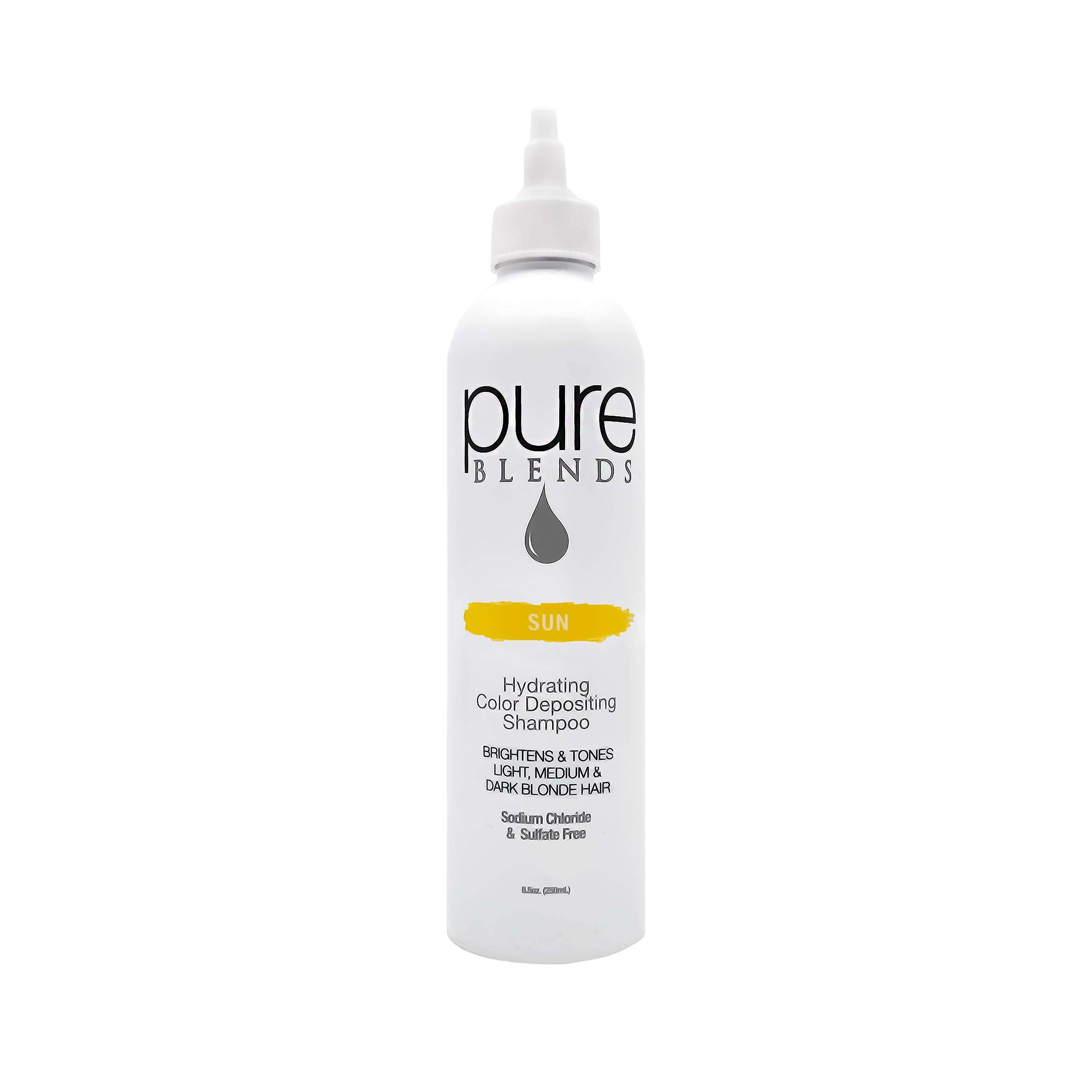 Pure Blends Hydrating Color Depositing Shampoo - Sun (Light, Medium & Dark Blonde) 8.5 Ounce - Salon Quality by Pure Blends