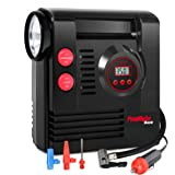 PowRyte Compact Digital Tire Inflator with Built-in Flashlight - Portable Air Compressor