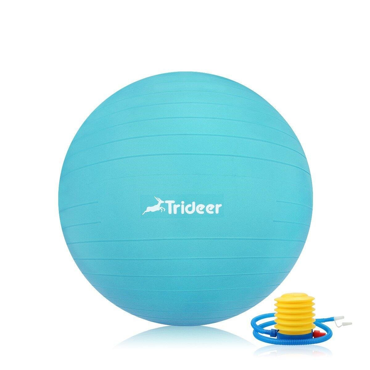 Trideer Exercise Ball (45-85cm) Extra Thick Yoga Ball Chair, Anti-Burst Heavy Duty Stability Ball Supports 2200lbs, Birthing Ball with Quick Pump (Office & Home & Gym) (Turkis, 55cm)