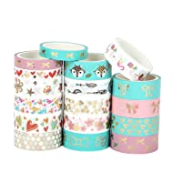17 Rolls Foil Washi Tape - Gold & Colored Bow Designs Masking Tape for DIY Craft Scrapbooking Planner