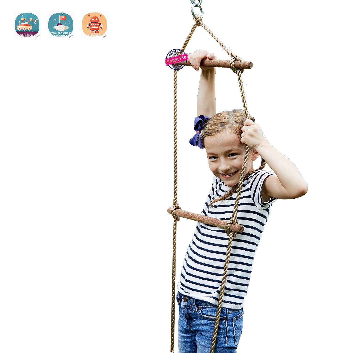 HAPPY PIE PLAY&ADVENTURE Playground Climbing Wooden Rope Ladder for Kids Indoor/Outdoor-64 Inch Length