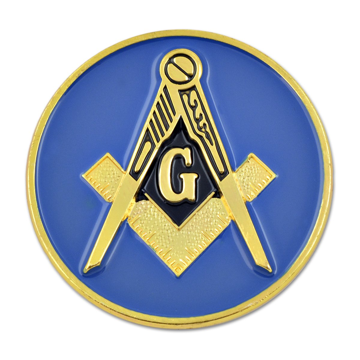 2 Diameter The Masonic Exchange TME-EMB-00022 Square /& Compass Round Blue /& Gold Masonic Auto Emblem