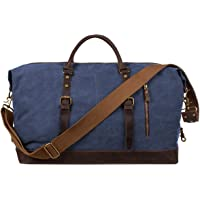 S-ZONE Oversized Canvas Genuine Leather Trim Travel Tote Duffel Shoulder Handbag Weekend Bag (Blue)