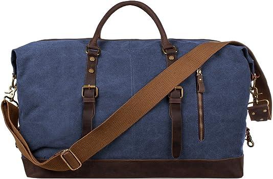 dc548879d5 Oversized Canvas Genuine Leather Trim Travel Tote Duffel Shoulder Handbag  Weekend Bag