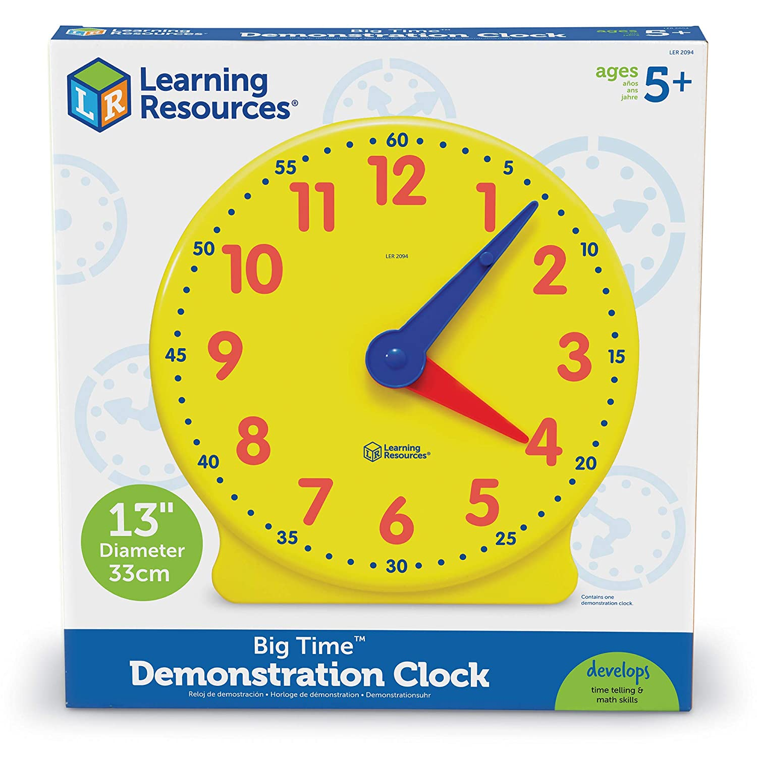 B00004WKT8 Learning Resources Big Time Learning Clock, 12 Hour, Basic Math Development, Ages 5+ 712V-Oss-eL