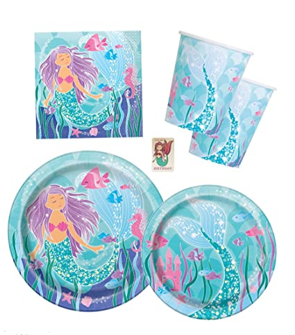 Image Unavailable. not available for. Color: Mermaid Birthday Party Supplies Amazon.com: Pack - Serves 16