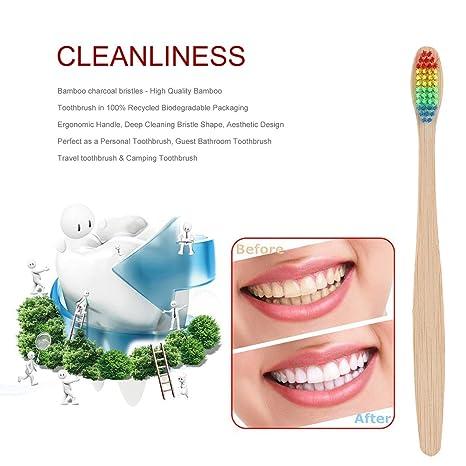 Lorenlli Colorido Pelo + Mango de bambú Cepillo de dientes Ambiente Arco iris de madera Bambú