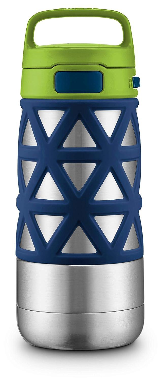 Ello Max Stainless Steel Water Bottle, Grey/Blue, 14 oz Leapfrog Brands 455-0273-240-6