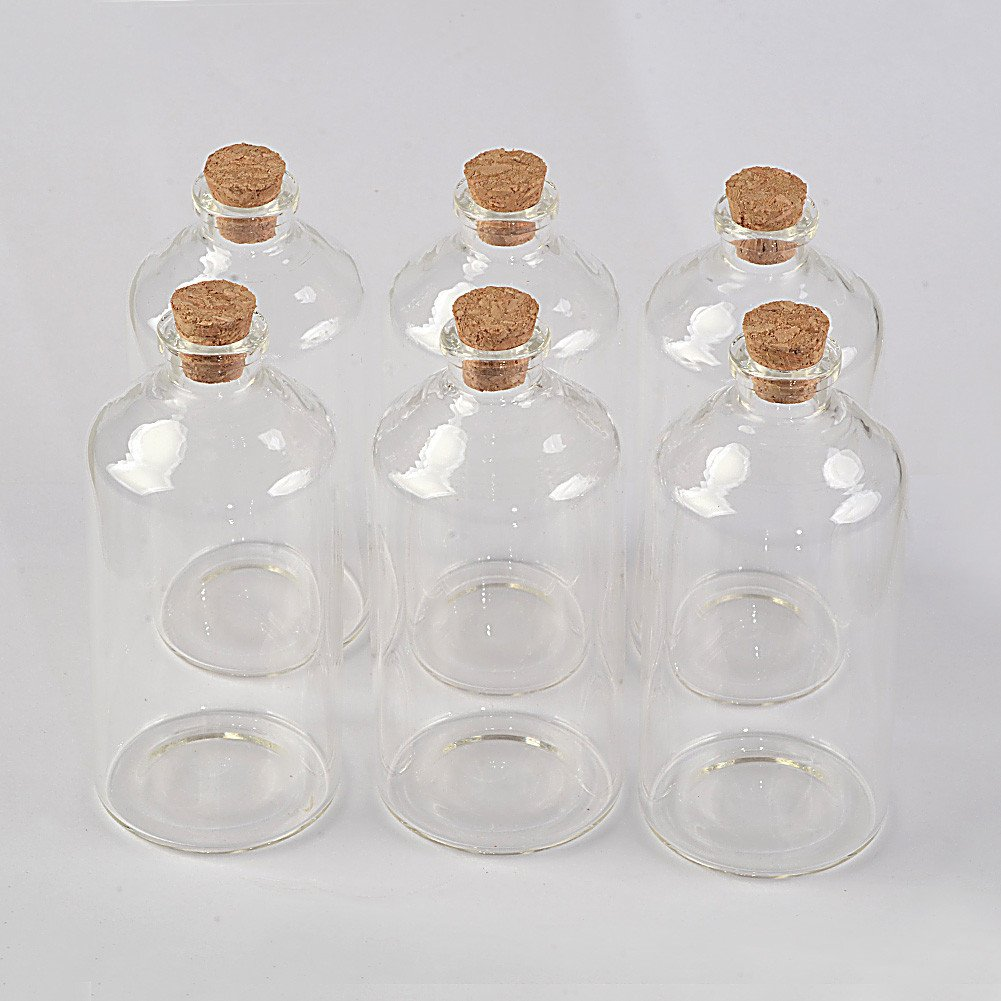 4ml Transparent Glass Cork Bottles Crafts Vials Glass Empty Wishing Bottles Jars Containers DIY Vials for Wedding Party 50, 4ml