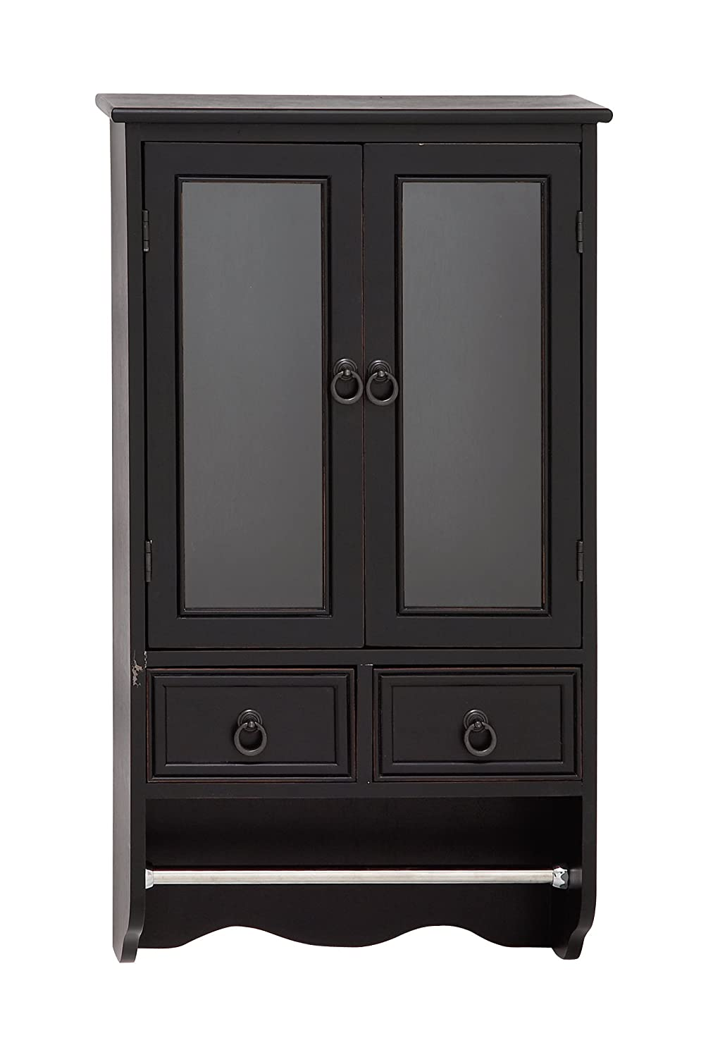 Benzara 96321 The Attractive Wood Glass Wall Cabinet