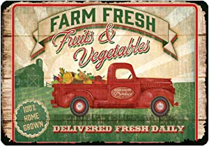 """Farm Fresh Daily Fruits Vegetables Home Grown Rustic Metal Sign Tin Poster Home Decor Bar Plate Kitchen Wall Sign Art 12""""x8"""""""
