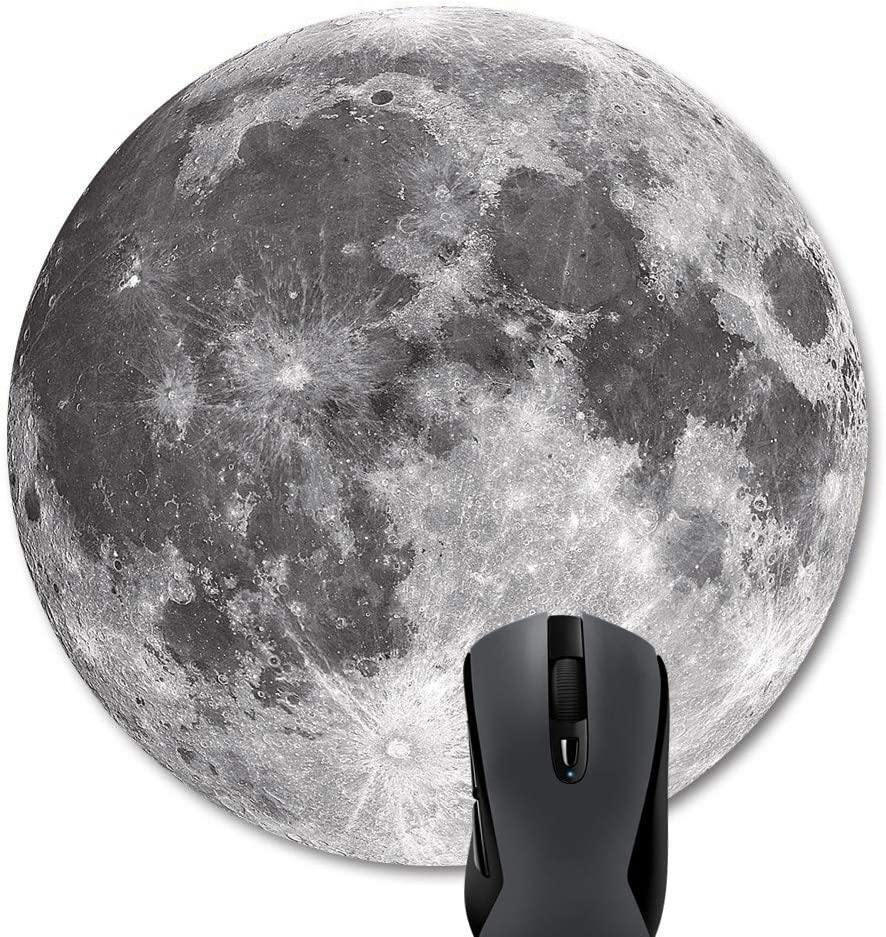 Wknoon Grey Moon Round Mouse Pad, Anti Slip Planet Mouse Mat for Desktops Computer PC and Laptops, Customized Circular Mouse Pads for Office and Home