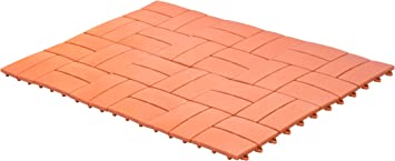 UPP® Paneles de jardín, terraza y balcón I baldosas antideslizantes encajables, piso a prueba de agua I suelo exterior, instalación fácil y rápida I 30 x 30 cm [24 partes, terracota]: Amazon.es:
