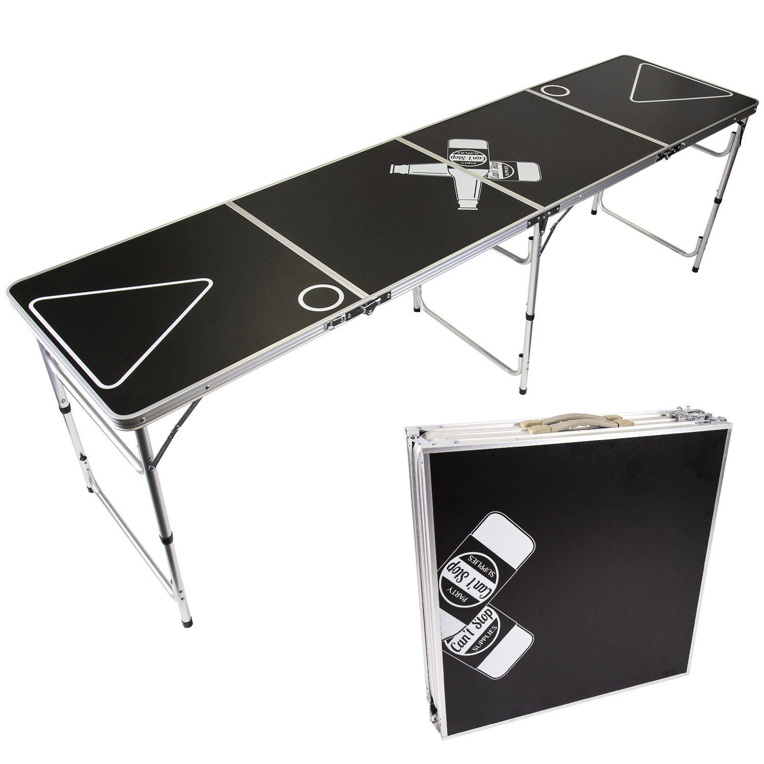 Can't Stop Party Supplies Portable Tailgating Beer Pong Table Easily Foldable w/ Adjustable Height Options - Beer Botle Design