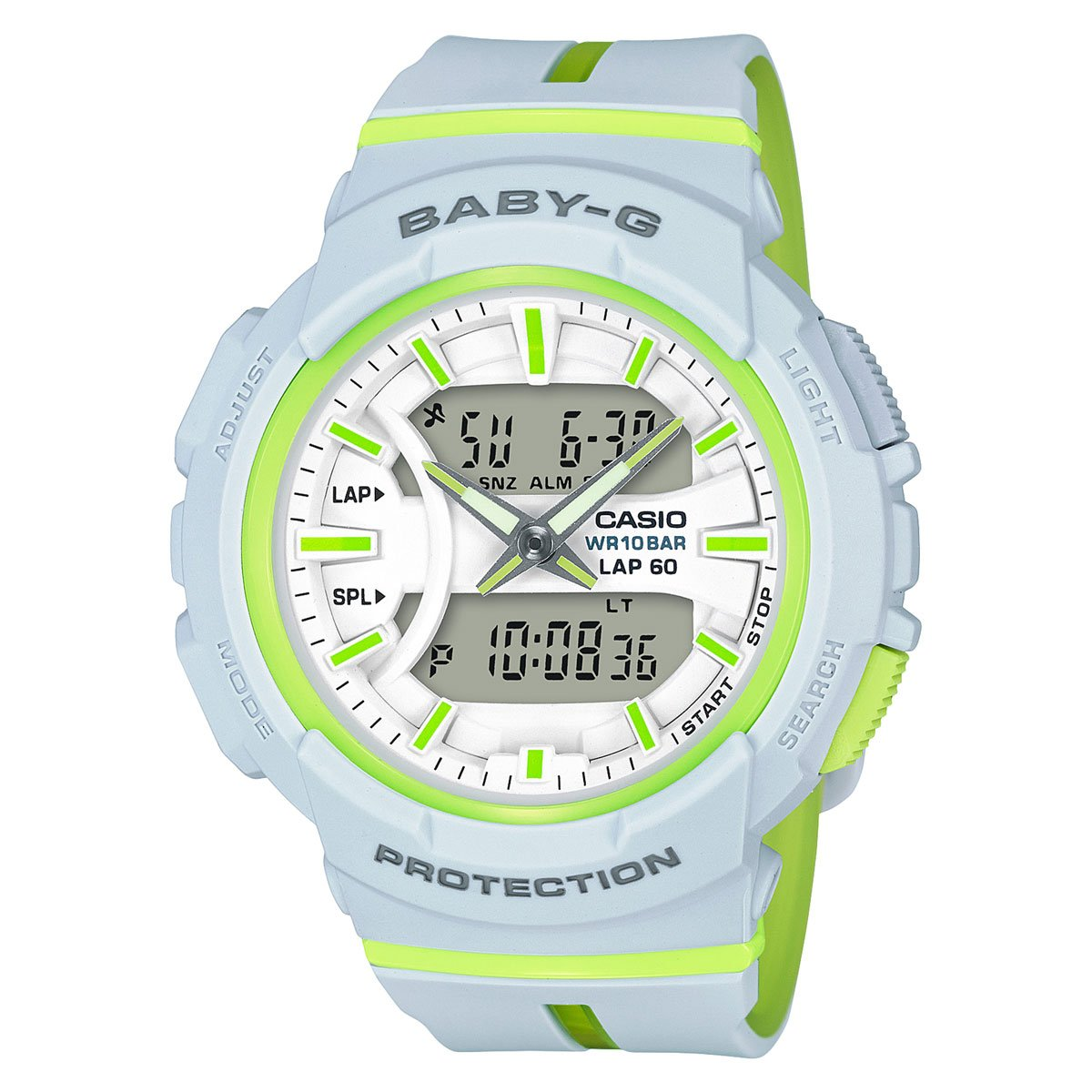 Casio Baby G Bga 240 Two Tone Series White Green Watch 180 2b Bga240l 7a Watches