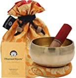 DharmaObjects Medium ~ Tibetan OM MANI Singing Bowl Set ~ With Mallet, Brocade Cushion & Carry Bag ~ For Meditation, Chakra Healing, Prayer, Yoga (Yellow)