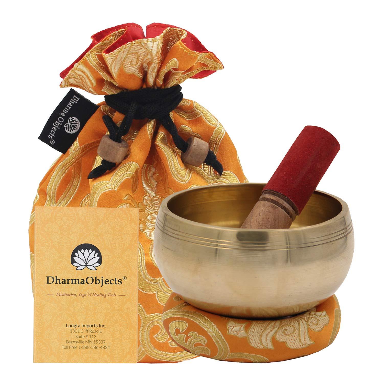 DharmaObjects Medium ~ Tibetan OM MANI Singing Bowl Set ~ With Mallet, Brocade Cushion & Carry Bag ~ For Meditation, Chakra Healing, Prayer, Yoga (Yellow)