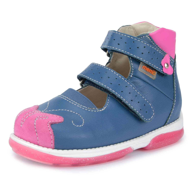 Memo Princessa Corrective Orthopedic Leather Mary Jane Shoes, Navy Blue/Pink, 23 M EU / 7 M US Toddler