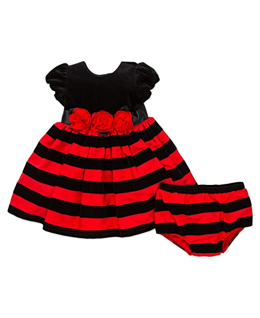 f380b5577047 Amazon.com: Little Me Baby Girls' Holiday Stripe Dress and Panty: Clothing