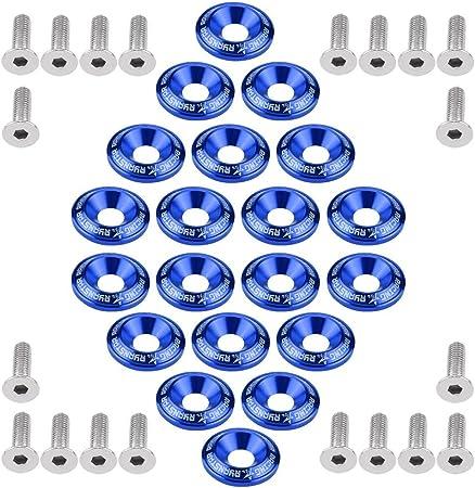 Qiilu Stoßstange Unterlegscheibe 20 Stücke Aluminium Nummernschild Schrauben Stoßstange Fender Unterlegscheibe Bolzen Motor Bay Dress Up Kit Blau Auto