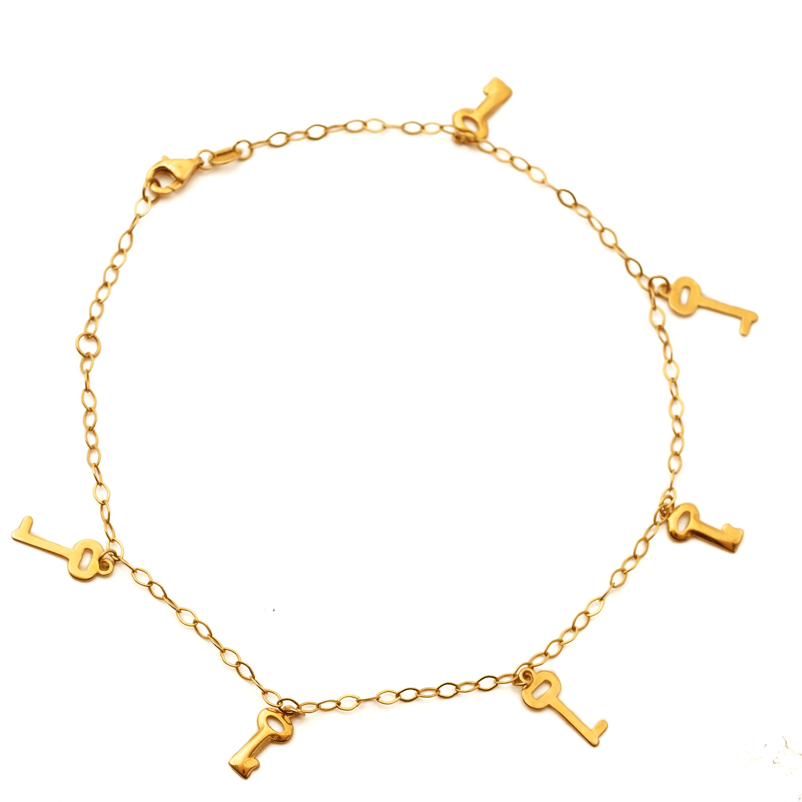 LoveBling 10K Yellow Gold 2mm Diamond Cut Rolo Chain with 6 Key Charms Anklet Adjustable 9'' to 10'' (#39)