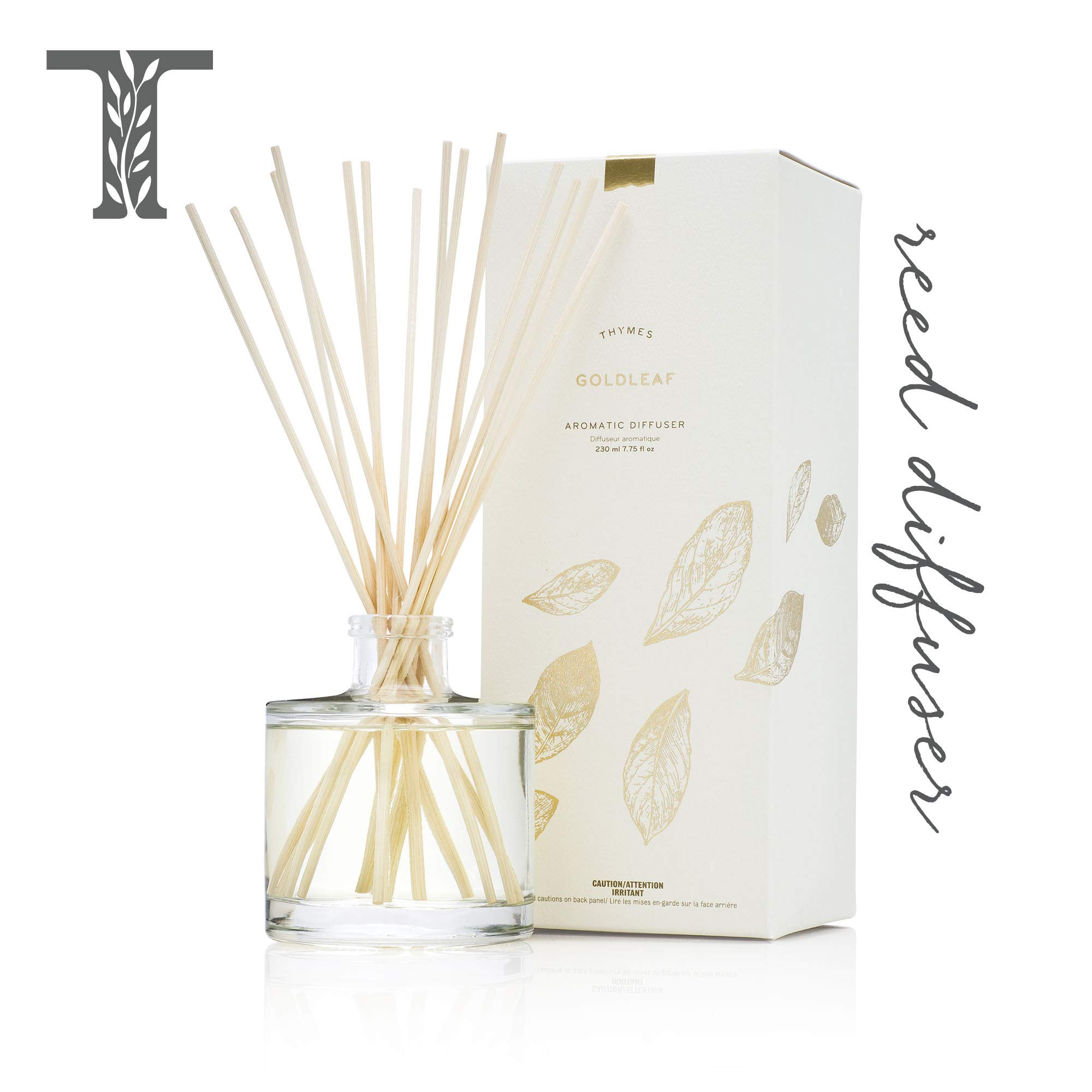 Thymes Oil Reed Diffuser - 6.5 Fl Oz Aromatic COCO OIL Gift Set with Premium Sticks, Glass Bottle and Floral Scented Oil, Gold by Thymes