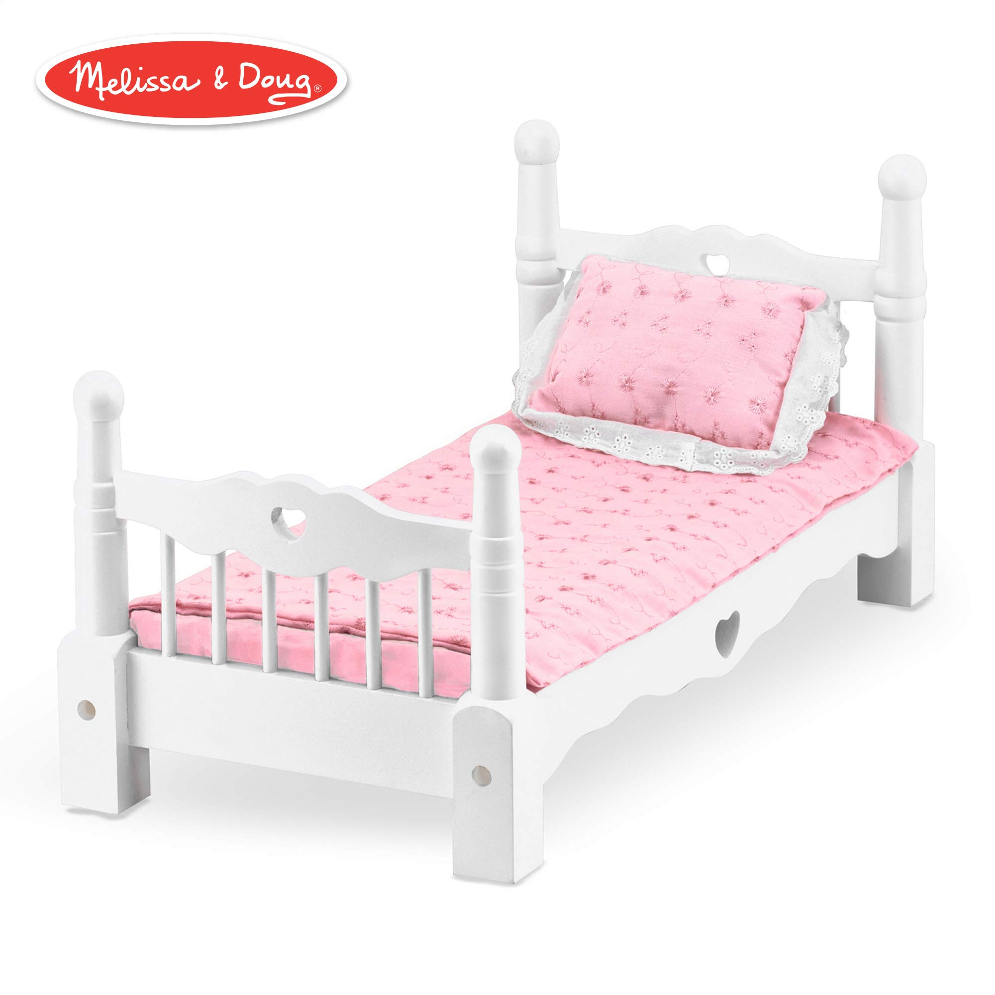 Melissa & Doug White Wooden Doll Bed With Bedding, 24 x 12 x 11-Inches by Melissa & Doug
