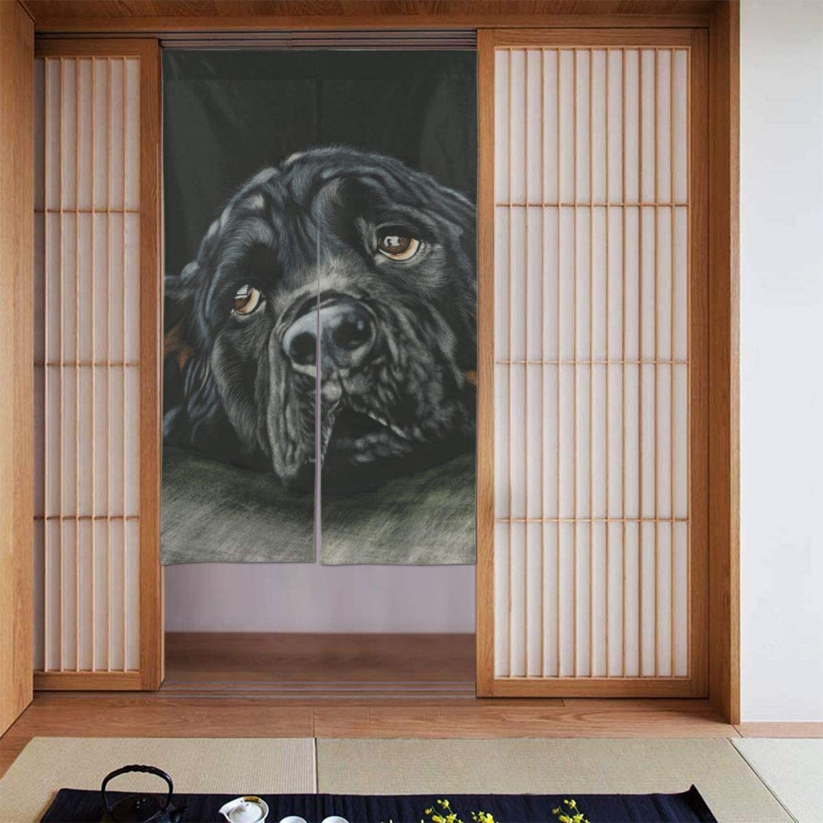 Amazon Com Asdjlk Rottweiler Breed Dog Black Blackout Curtain Panels For Girls Room Nursery Essential Thermal Insulated Blackout Drapes 34 X 56 Inches Home Kitchen