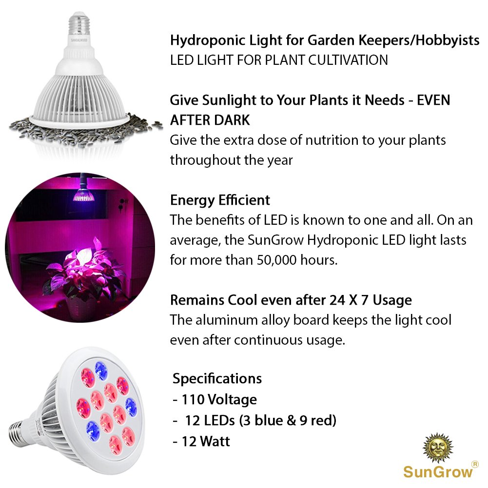 Eco-friendly Hydroponic LED Light -- Grows plants Without Soil - Energy-efficient, cuts on high Utility Bills - Long Lifespan - Used in indoor flower gardens, nurseries, hydroponics, & greenhouses