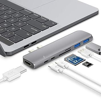 Hotott Hub USB C para MacBook Pro, Adaptador Tipo C conThunderbolt ...