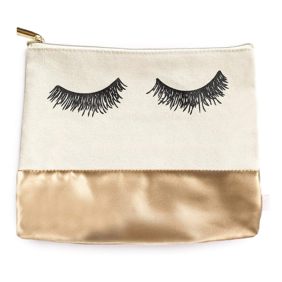 Eyelashes Gold Leather Makeup Bag | Large Chic Make-Up Organizer Travel Toiletry Accessories Pencil Case Cosmetic Clutch Bridesmaid Gift for Her Hand Drawn