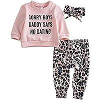 Baby Girls Newborn 3PCS Clothes Top Printed T Shirt Leopard Pants Headband Sweatshirt Infant Outfit Clothing Sets…