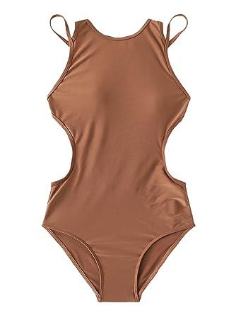 99b1d2d7c8b SweatyRocks Women's Sexy One-Piece Swimsuit Solid Color Cutout Beach  Swimwear Bathing Suit Brown S