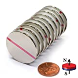 """CMS Magnetics® Grade N52, the Most Powerful Disc Neodymium Magnets, 1.26"""" Diameter x 1/16"""" Thick, 50% Stronger than Grade N35 – Pack of 10"""