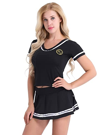 Chictry Sexy School Girls Cheerleader Cosplay Lingerie Outfit Sailor Suit Shirts With Mini Skirt And G