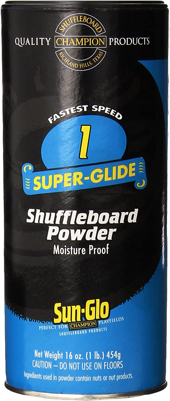 Sun-Glo Speed 1 (Super Glide Wax) Shuffleboard Table Powder Wax 16 oz. Can with a Shuffleboard Sweep Bundle Option