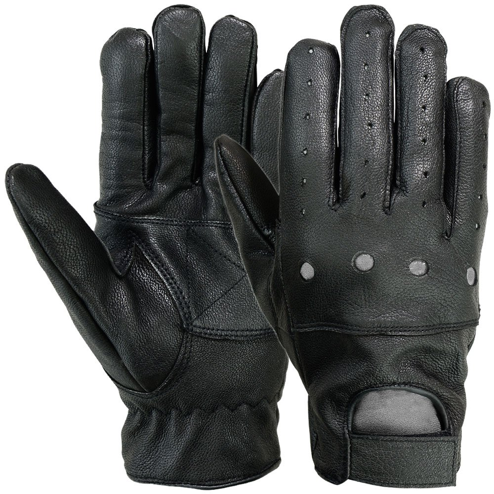 MRX Mens Driving Gloves Basic Outdoor Glove Soft Goat Leather Full Finger, Black-CA Mrx Products