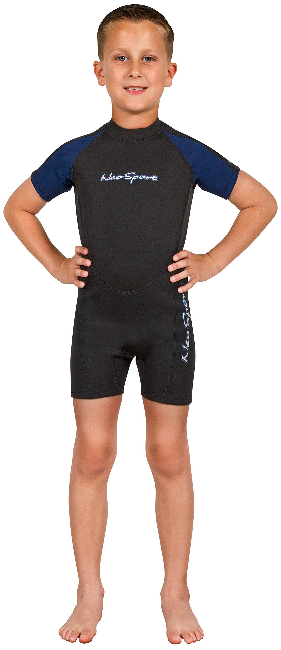 NeoSport Wetsuits Youth Premium Neoprene 2mm Youth's Shorty, Blue Trim, 8 - Diving, Snorkeling & Wakeboarding by Neo-Sport
