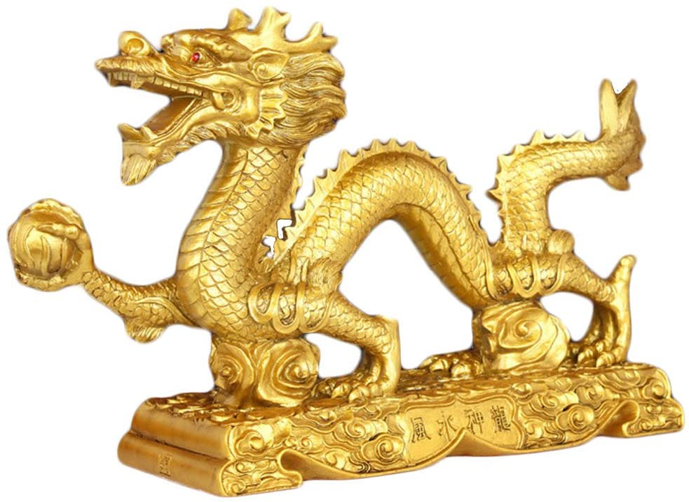 2 ASIAN DRAGON FIGURINE WOOD WALL HANGING GOLD SCULPTURE  ART HOME ROOM DECOR