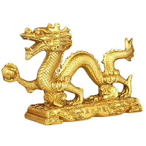 Bwinka Chinese Gold feng Shui Dragon Statue and Figurines and Sculptures and Collectibles for Luck Success